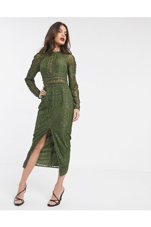 ASOS DESIGN long sleeve pencil dress in lace with geo lace trims-Green