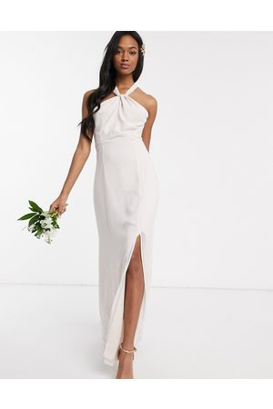 Maids to Measure bridesmaid halter neck chiffon maxi dress with back detail-Beige