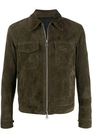 Ami Men Leather Jackets - Patch pocket suede jacket