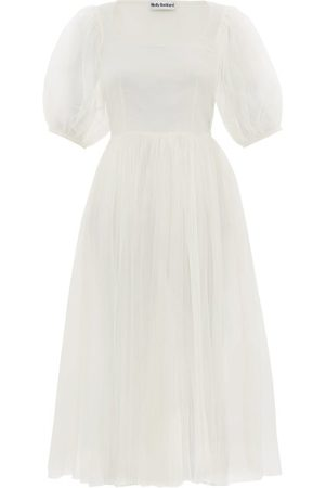 Molly Goddard Gwyneth Puff-sleeved Tulle Midi Dress - Womens - Ivory