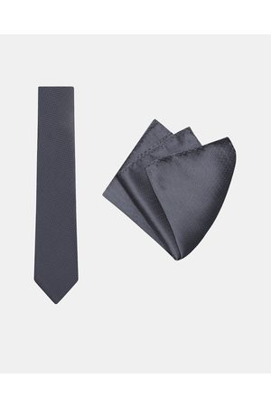 Buckle Herringbone Tie & Pocket Square Set - Ties (Charcoal) Herringbone Tie & Pocket Square Set