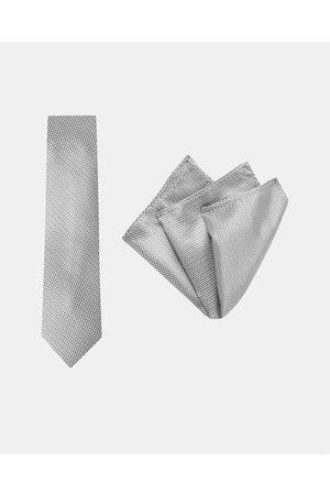Buckle Men Neckties - Carbon Tie & Pocket Square Set - Ties Carbon Tie & Pocket Square Set