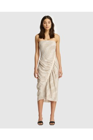 Friend of Audrey Nadine Gathered Linen Print Dress - Printed Dresses (Natural Print) Nadine Gathered Linen Print Dress