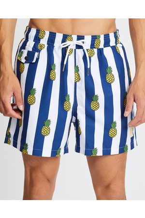 Buba & La Pineapples on Stripes Swim Shorts - Swimwear (Navy Stripe) Pineapples on Stripes Swim Shorts