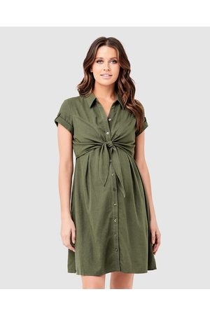 Ripe Maternity Colette Tie Up Dress - Dresses (Olive) Colette Tie Up Dress