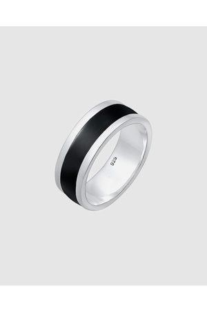 Kuzzoi Ring Basic Geo Black Enamel Cool 925 Sterling - Watches Ring Basic Geo Black Enamel Cool 925 Sterling