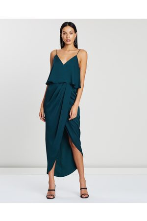 Shona Joy Luxe Draped Cocktail Frill Dress - Bridesmaid Dresses (Emerald) Luxe Draped Cocktail Frill Dress