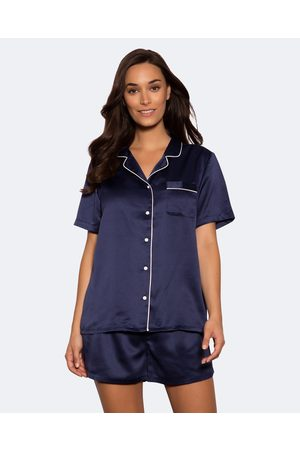 Bras N Things Liquid Satin Short Pj Set - Sleepwear (Navy) Liquid Satin Short Pj Set