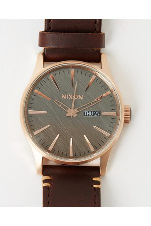 Nixon The Sentry Leather - Watches (Rose , Gunmetal & ) The Sentry Leather