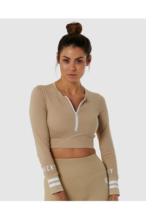 Nicky Kay Long Sleeve Compression Crop - Tops (Cream) Long Sleeve Compression Crop