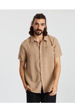 AERE Men Casual - SS Linen Shirt - Casual shirts (Sand) SS Linen Shirt