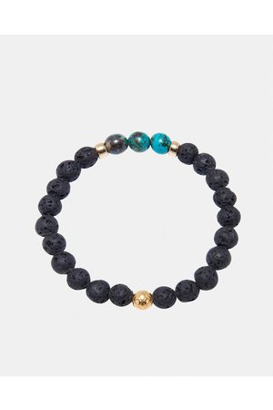 Nialaya Men's Wristband with Lava Stone and Bali Turqouise - Jewellery ( and ) Men's Wristband with Lava Stone and Bali Turqouise