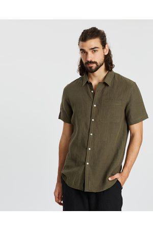 AERE SS Linen Shirt - Casual shirts (Khaki) SS Linen Shirt