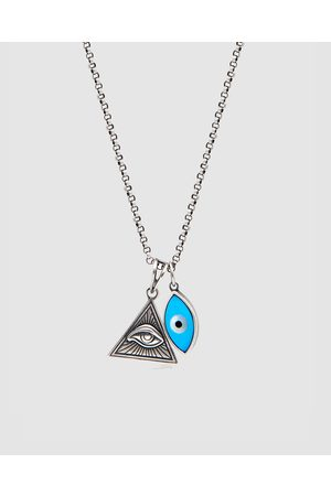Nialaya Men Necklaces - Men's Necklace with Evil Eye and Eye Of Ra Pendant - Jewellery Men's Necklace with Evil Eye and Eye Of Ra Pendant