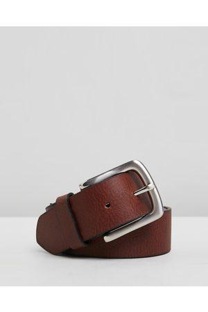 Double Oak Mills Men Belts - Casual Grain Leather 38mm Belt - Belts (Cognac & ) Casual Grain Leather 38mm Belt