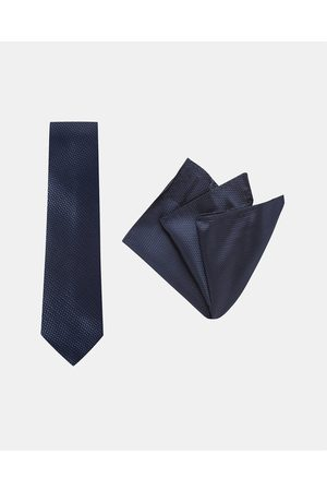 Buckle Carbon Tie & Pocket Square Set - Ties (Navy) Carbon Tie & Pocket Square Set