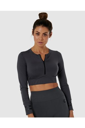 Nicky Kay Long Sleeve Compression Crop - Tops (Charcoal) Long Sleeve Compression Crop