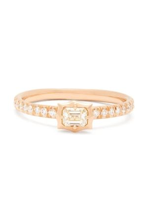 Jade Trau Vanguard Solitaire Diamond & 18kt Ring - Womens - Rose
