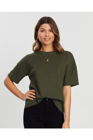 Atmos&Here Sasha Waffle SS Tee - T-Shirts & Singlets (Khaki) Sasha Waffle SS Tee