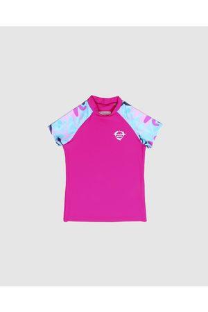 Conscious Swim Short Sleeve Logo Rashie Girls - Rash Suits (Magenta) Short Sleeve Logo Rashie - Girls