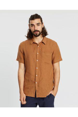 AERE SS Linen Shirt - Casual shirts (Rust) SS Linen Shirt