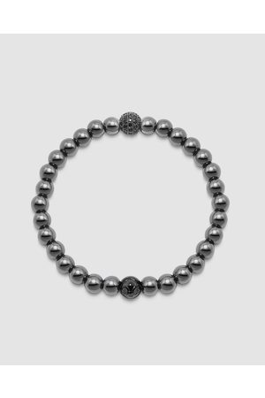 Nialaya Men's Wristband with Hematite and CZ Diamond - Jewellery Men's Wristband with Hematite and CZ Diamond
