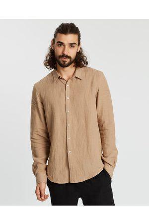 AERE LS Linen Shirt - Casual shirts (Sand) LS Linen Shirt