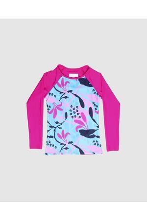 Conscious Swim Long Sleeve Wilugaju Print Rashie Girls - Rash Suits (Magenta) Long Sleeve Wilugaju Print Rashie - Girls