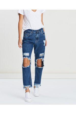 DRICOPER DENIM Mom Jeans - High-Waisted (Mid Indigo Wash) Mom Jeans
