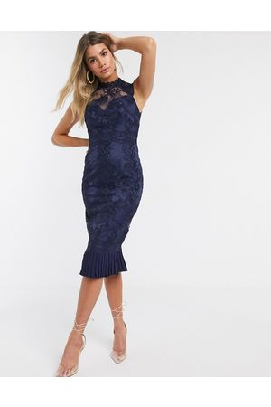 Lipsy London Lace pencil dress-Navy