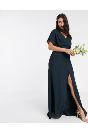 ASOS DESIGN Bridesmaid short sleeved cowl front maxi dress with button back detail-Navy