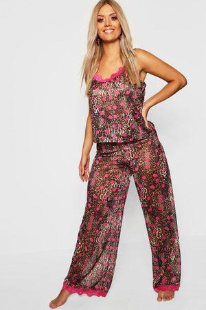 Boohoo Plus Gemma Collins Chiffon Leopard Lace Trim PJ Set