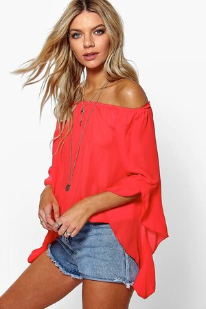Boohoo Fluted Frill Sleeve Off The Shoulder Top- Poppy