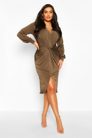 Boohoo Plus Twist Front Plunge Midi Dress- Khaki