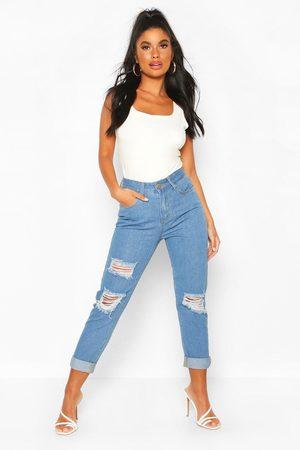 Boohoo Women Boyfriend - Petite High Rise Distressed Boyfriend Jeans- Light