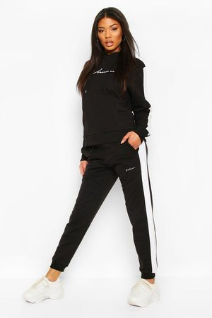 Boohoo Contrast Panel Tracksuit With Woman Embroidery