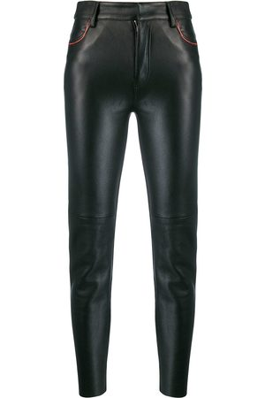 Ami Women Skinny Pants - Leather cropped skinny trousers