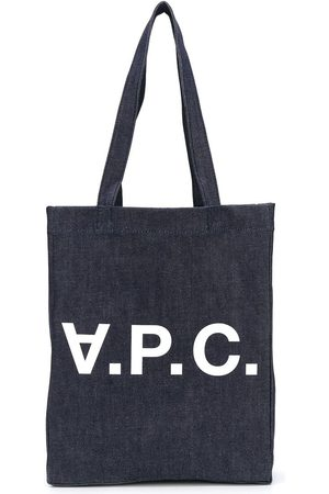 A.P.C Logo denim tote bag