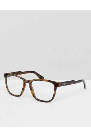 Quay Australia Hardwire clear lens glasses in tort with blue light blocker-Brown
