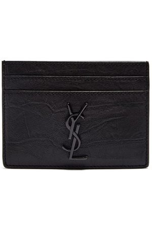 Saint Laurent Ysl-plaque Crocodile-effect Leather Cardholder - Mens