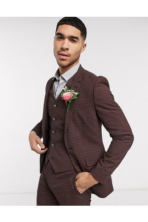 ASOS DESIGN wedding skinny suit jacket in mini check in burgundy and grey-Red