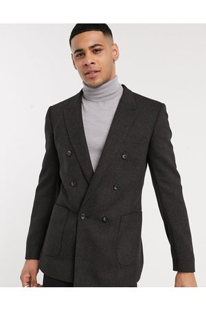 ASOS DESIGN skinny double breasted blazer in charcoal wool mix twill-Grey