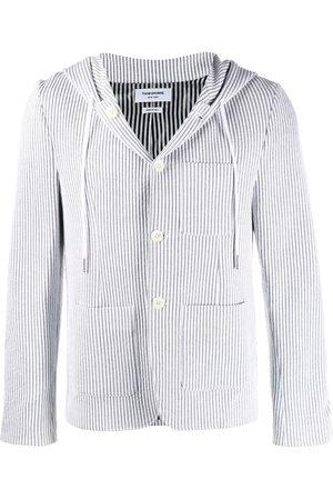 Thom Browne Seersucker striped hooded blazer