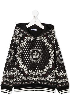 Dolce & Gabbana Kids Boys Outdoor Jackets - Baroque-print hooded jacket