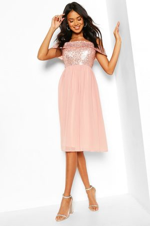 Boohoo Bridesmaid Occasion Sequin Bardot Midi Dress- Blush