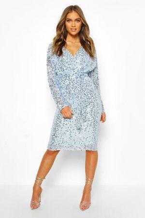 Boohoo Occasion Sequin Plunge Tie Waist Midi Dress- powder