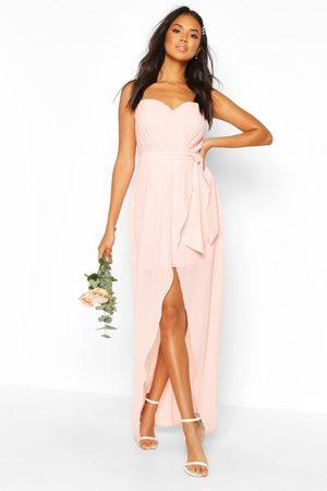 Boohoo Bridesmaid Occasion Bandeau Pleated Maxi Dress- Nude