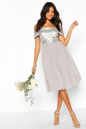 Boohoo Women Maxi Dresses - Bridesmaid Occasion Sequin Bardot Midi Dress