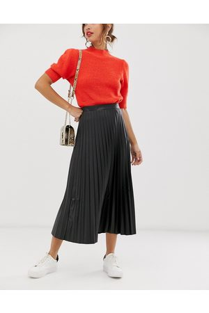 Women Leather Skirts - ASOS DESIGN leather look pleated midi skirt in black