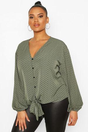 Boohoo Plus Diamond Print Tie Front Blouse- Khaki